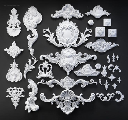 欧式雕花单花对角花组合3D模型【ID:828135602】