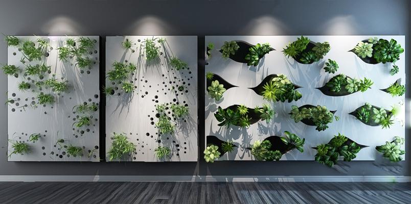 现代绿植墙3D模型【ID:826222449】