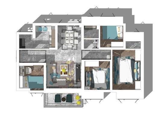 现代风格四房两厅室内设计SU模型【ID:445617903】
