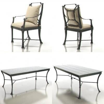美式桌椅组合3D模型下载【ID:319454614】