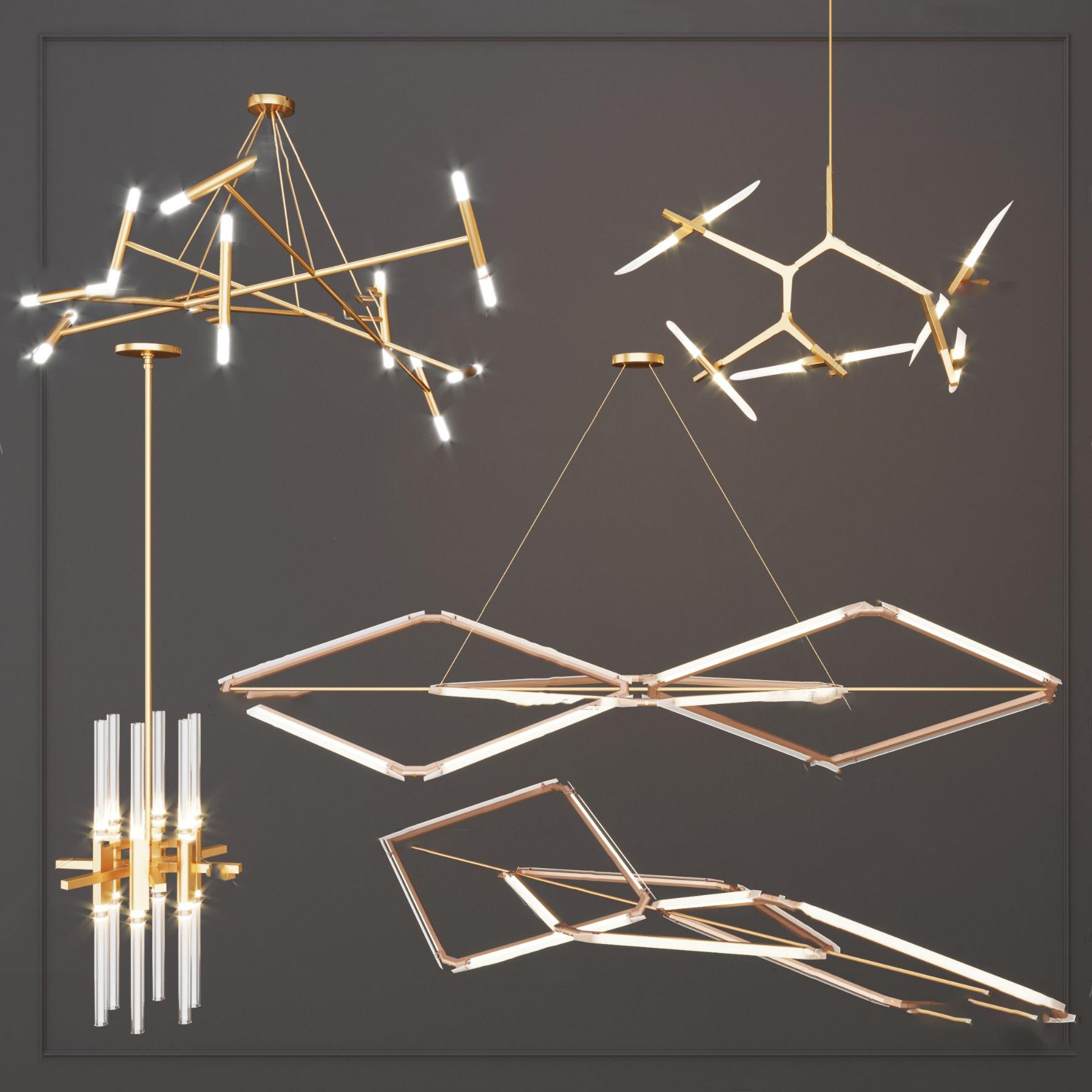 北欧金属吊灯3D模型【ID:742180833】