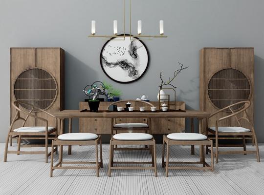 中式茶桌椅3D模型【ID:920013978】