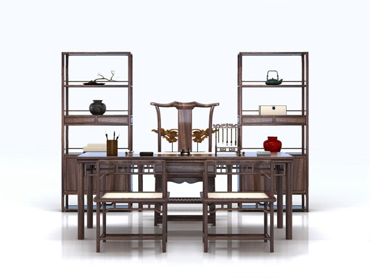 新中式书桌装饰架组合3D模型【ID:327930690】