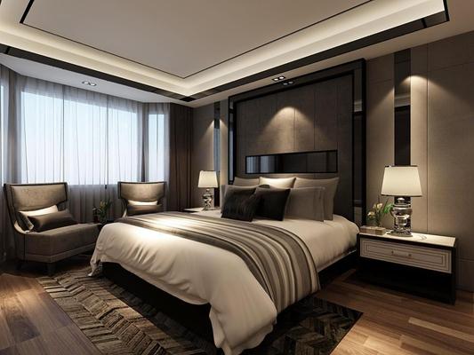 現代酒店套房臥室3D模型【ID:428126680】