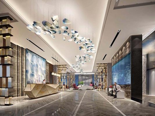 現代酒店大堂3D模型【ID:427966283】