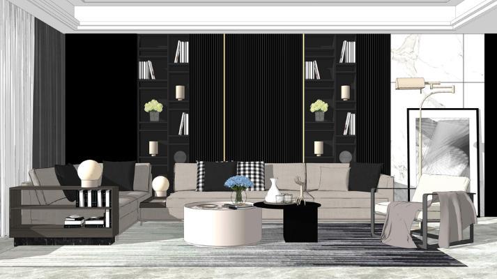 现代沙发茶几组合SU模型【ID:745896600】