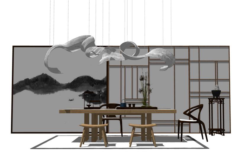 中式茶桌SU模型【ID:436401249】