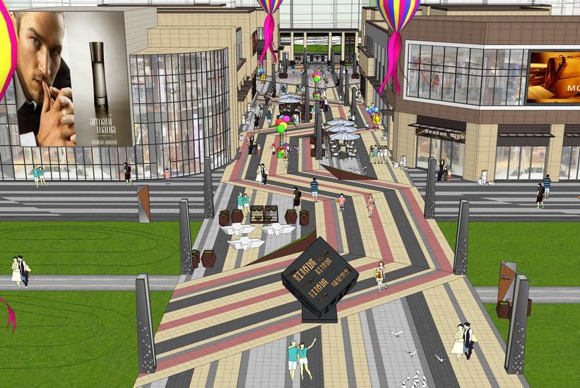 現代商業街景觀SU模型【ID:536401553】
