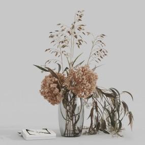 現代玻璃花瓶干花書本飾品3d模型【ID:247041510】