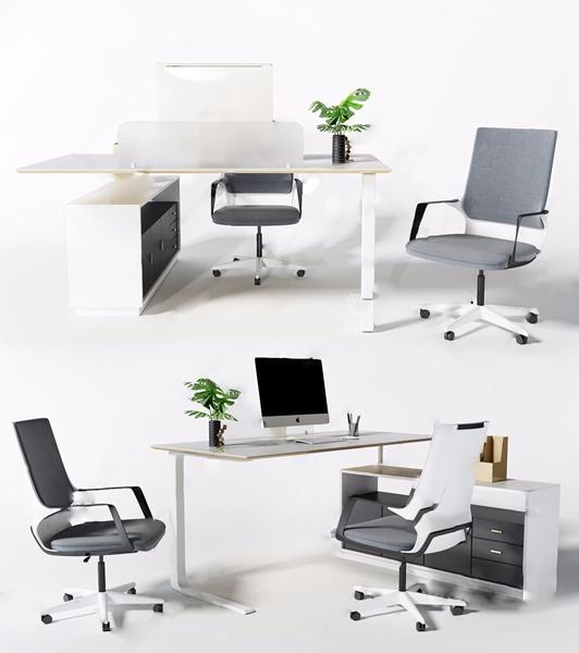 現代辦公桌椅組合3D模型【ID:946260132】