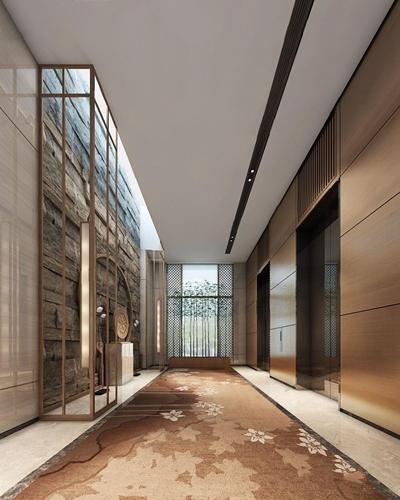 新中式電梯廳3D模型【ID:427960802】