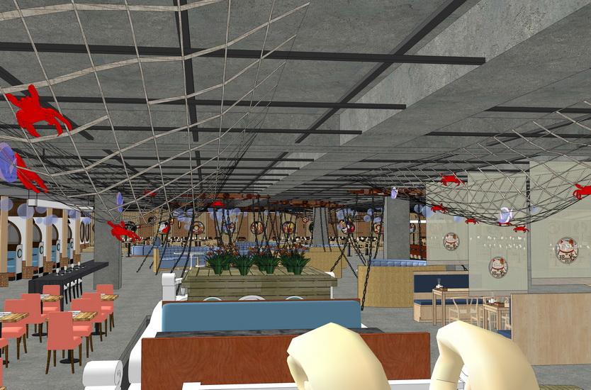 海賊王主題餐廳室內設計SU模型【ID:936401881】