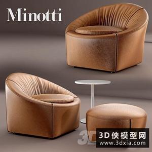 Minotti扶手椅国外3D模型【ID:729295816】