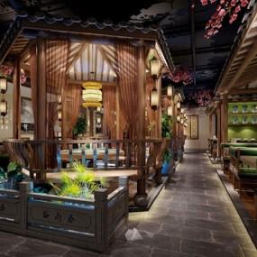 新中式餐饮大厅3D模型【ID:728029949】