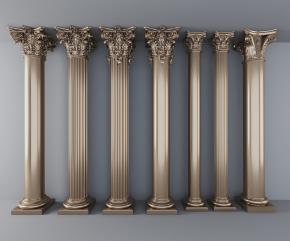 歐式鍍金雕花羅馬柱組合3D模型【ID:627804986】