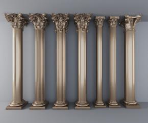 欧式镀金雕花罗马柱组合3D模型【ID:627804986】