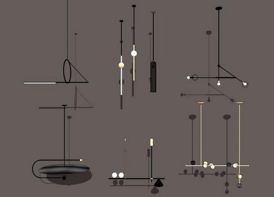 現代吊燈組合SU模型【ID:345618812】