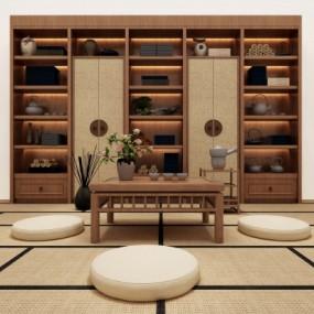 日式茶室装饰柜榻榻米组合3D模型【ID:328437416】
