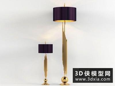 现代金属落地灯国外3D模型【ID:929606064】