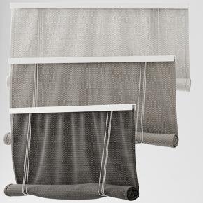 现代布艺卷帘窗帘组合3D模型【ID:327785859】