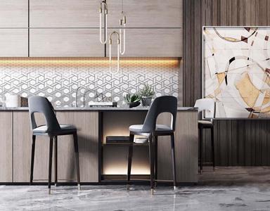 现代吧台吧椅组合3D模型【ID:620800315】