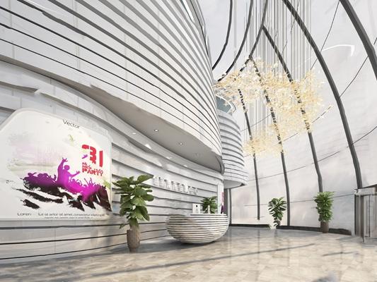 现代大厅3D模型【ID:920602083】