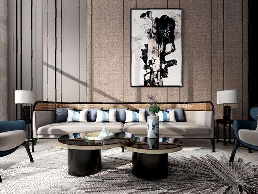 现代沙发茶几组合3D模型【ID:620026088】