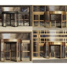 酒店旋转门自动门组合3D模型【ID:427940835】