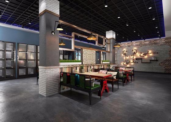 现代工业餐厅3D模型【ID:528028509】
