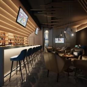 现代酒吧3D模型【ID:428443485】