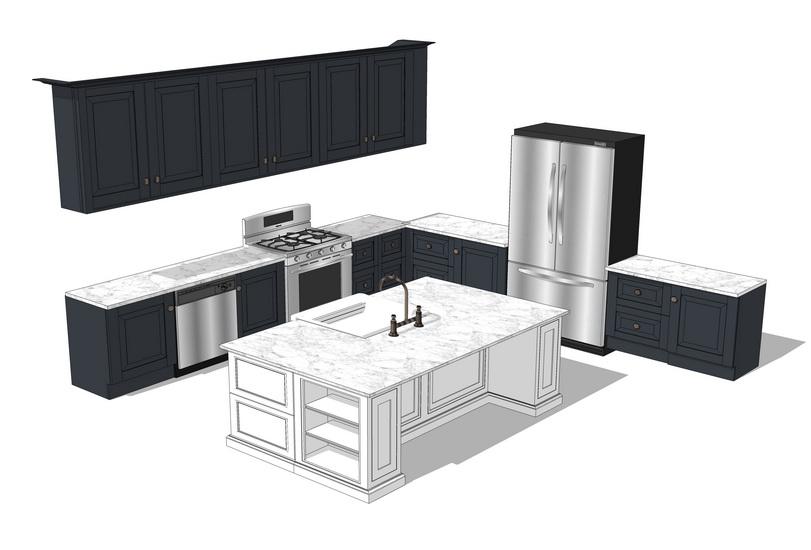 欧式厨房橱柜组合SU模型【ID:736402181】