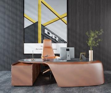 現代辦公桌椅3D模型【ID:934736144】