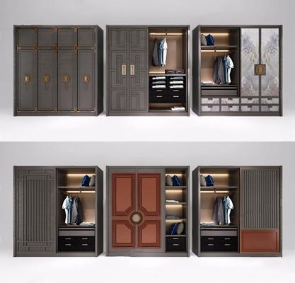 新中式衣柜组合3D模型【ID:928188909】
