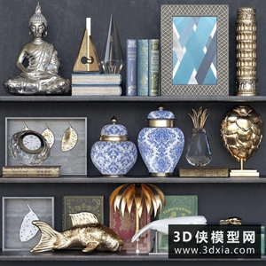 中式裝飾品組合國外3D模型【ID:929326825】