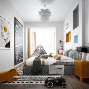 北欧卧室儿童房3D模型【ID:127754259】
