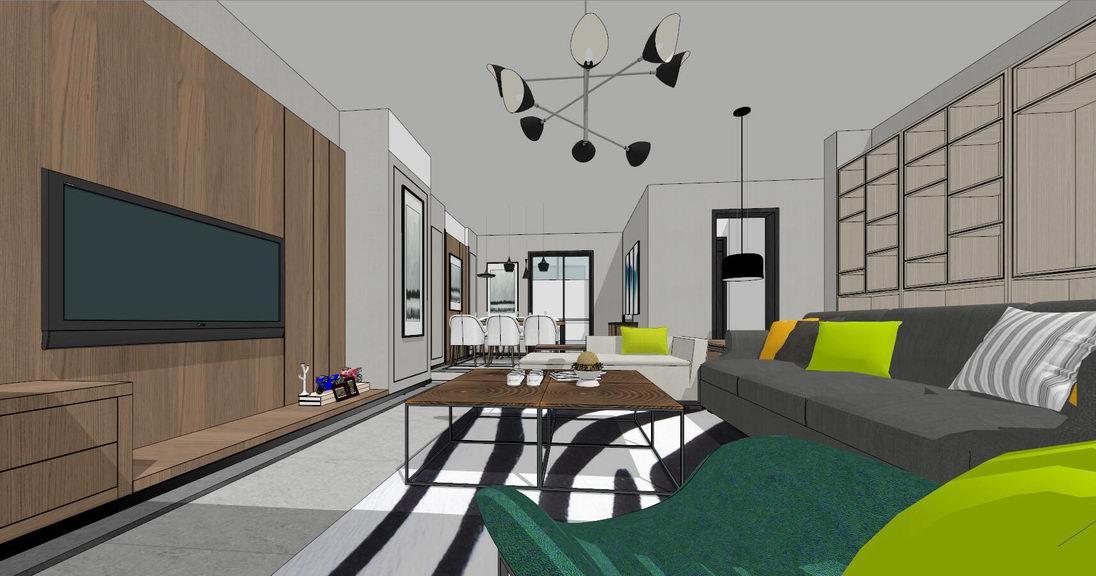 現代風格四房兩廳室內設計SU模型【ID:936402895】