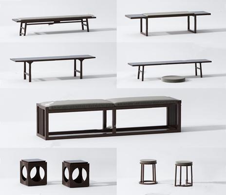 新中式长条板凳圆凳蒲团组合3D模型【ID:427988308】