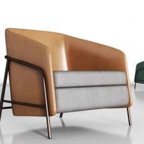 现代皮革单椅组合3D模型【ID:227783450】