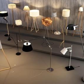 现代铁艺木质落地灯集组合3D模型【ID:628042233】