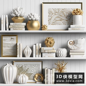裝飾品組合國外3D模型【ID:929332804】