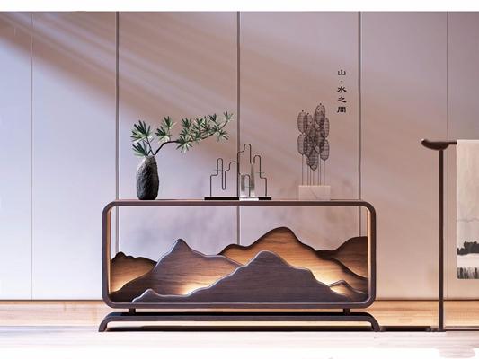 新中式玄關柜植物擺件3D模型【ID:928197174】