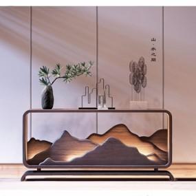 新中式玄关柜植物摆件3D模型【ID:928197174】