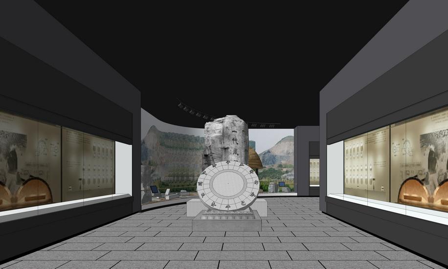中式博物館室內設計SU模型【ID:636403042】