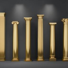 欧式镀金罗马柱组合3D模型【ID:628459911】