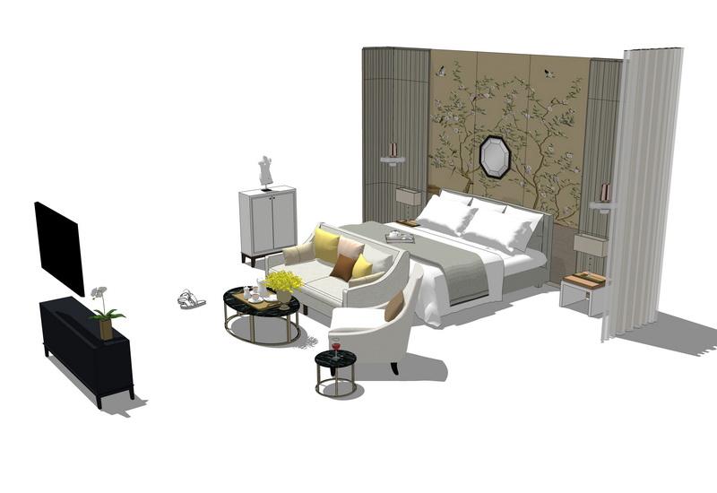新中式卧室家具组合SU模型【ID:536403150】