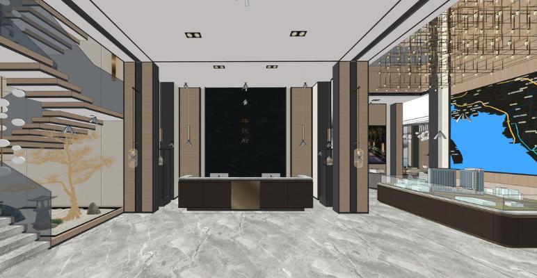 新中式售楼处室内设计SU模型【ID:947339857】