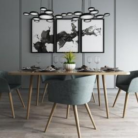 现代餐厅桌椅吊灯组合3D模型【ID:828124521】