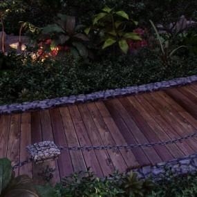 现代室外夜景木道3D模型【ID:128413862】