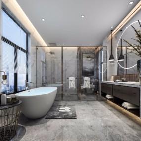 现代浴室卫生间3D模型【ID:127771620】