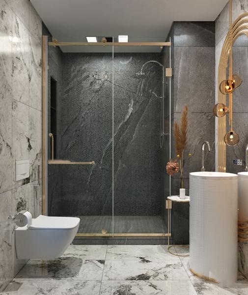 现代轻奢卫生间浴室3D模型【ID:546657532】